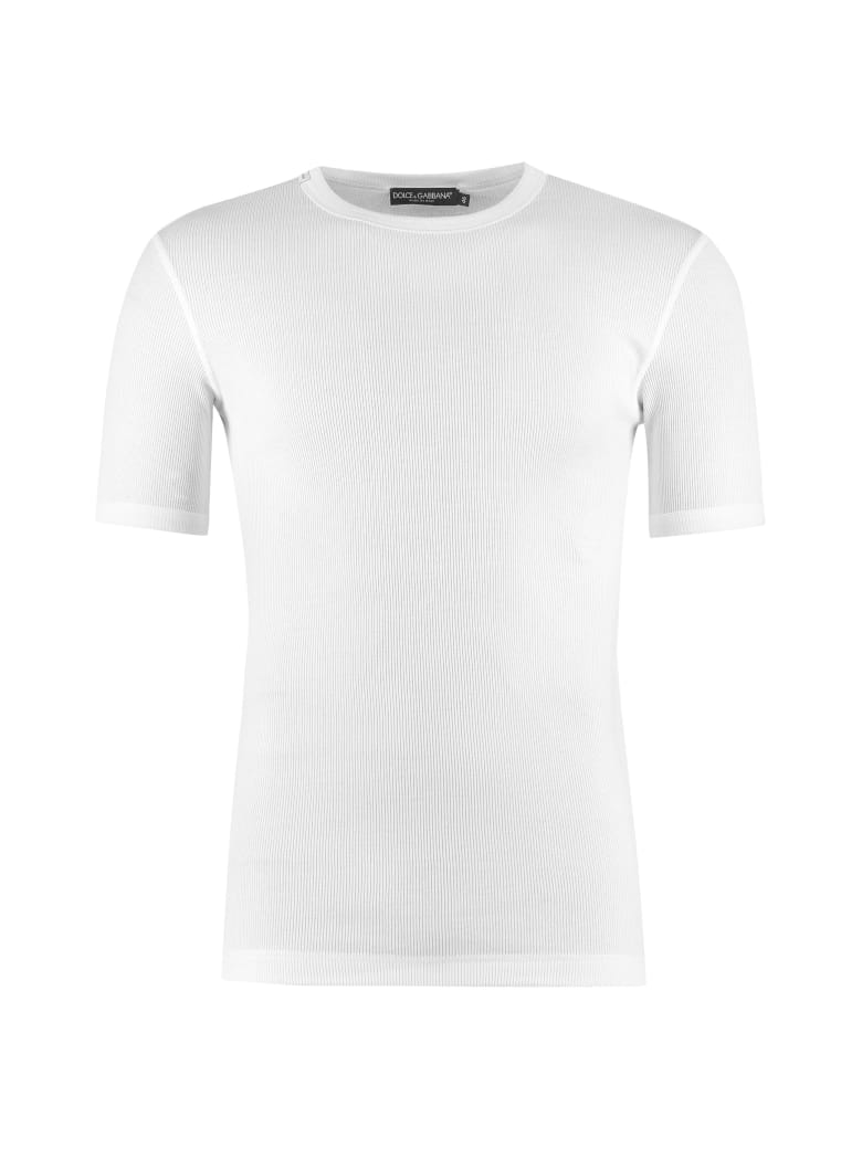 Dolce & Gabbana Ribbed Cotton Crew-neck T-shirt - White