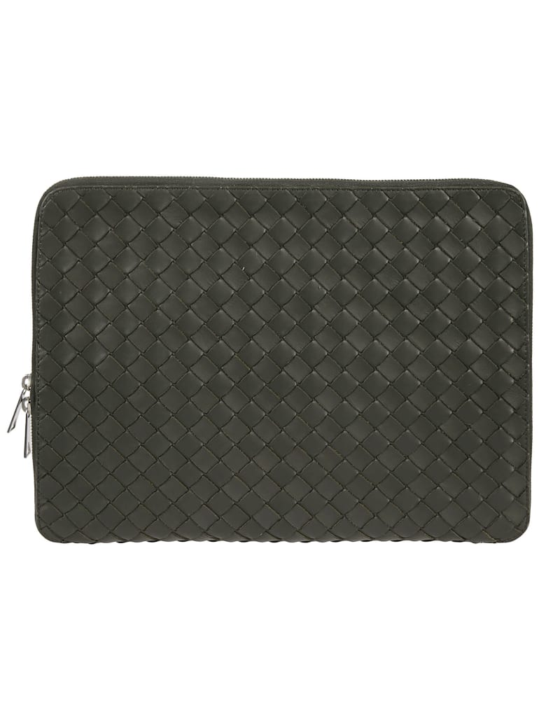 Bottega Veneta Zip-around Woven Clutch - Camping Silver