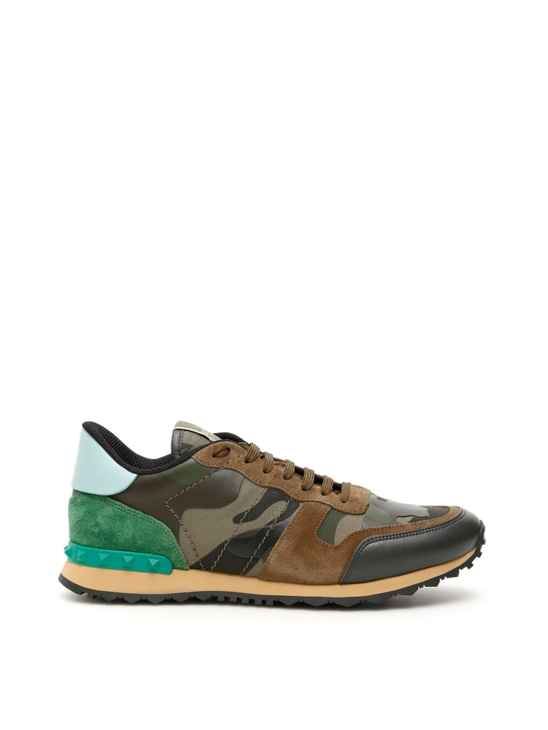 Valentino Garavani Camouflage Rockrunner Sneakers - A GR BR WO A GR GRIGIO TURQUOIS BEIGE (Green)