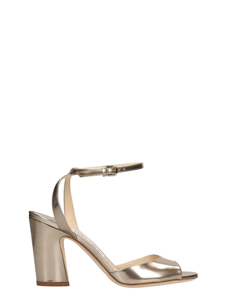 Jimmy Choo Gold Leather Miranda Sandals - gold