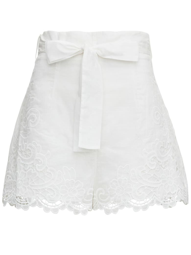 Zimmermann Lulu Cotton Shorts With Bow - White