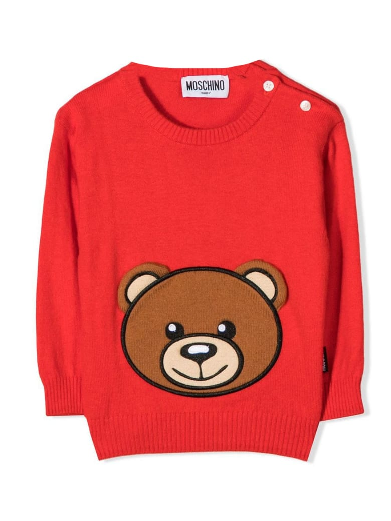 Moschino Red Cotton-wool Blend Jumper - Rosso
