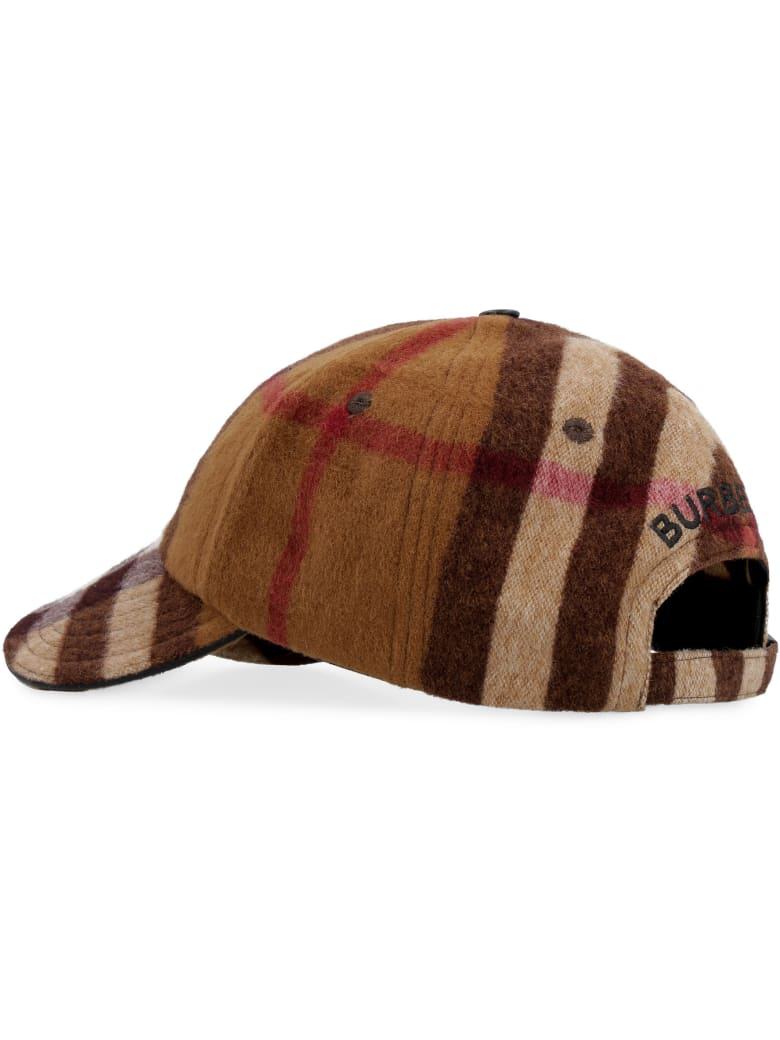 Burberry Check Motif Wool Baseball Cap - brown