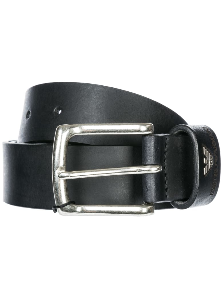 Emporio Armani  Genuine Leather Belt - Black