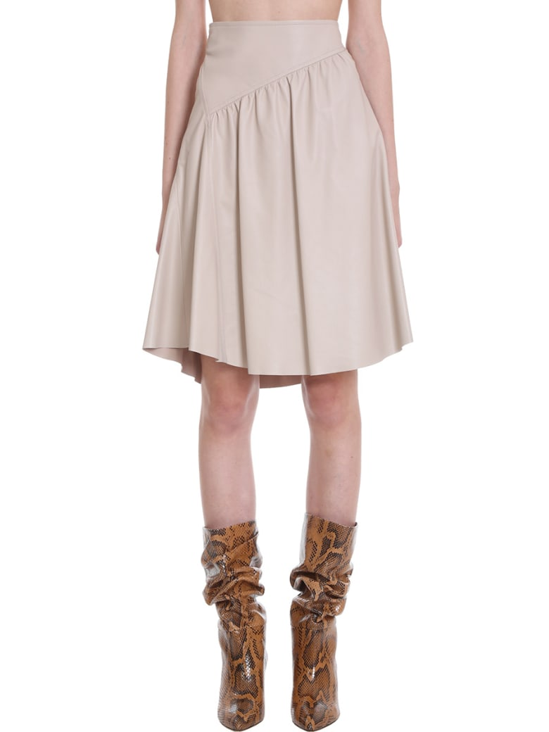 DROMe Skirt In Beige Leather - beige