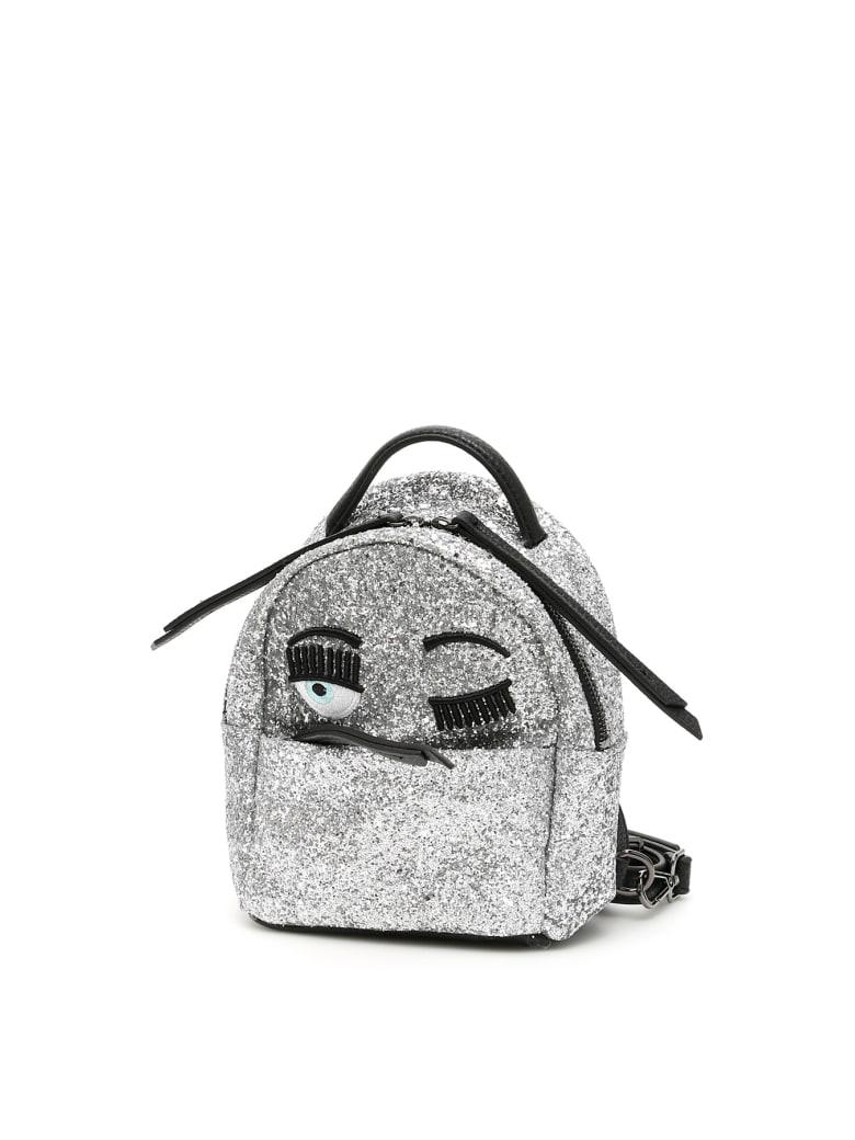 Chiara Ferragni Glitter Flirting Mini Backpack - SILVER (Silver)