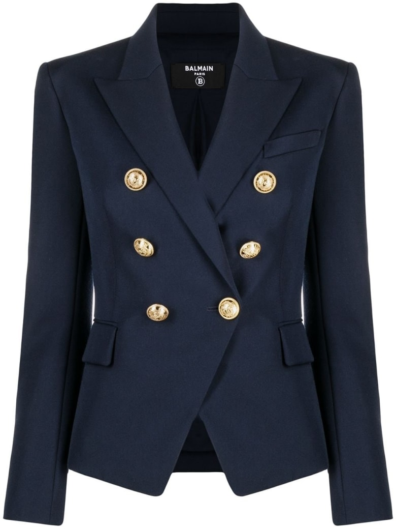 Balmain Double-breasted Blue Viscose Blazer - Blu