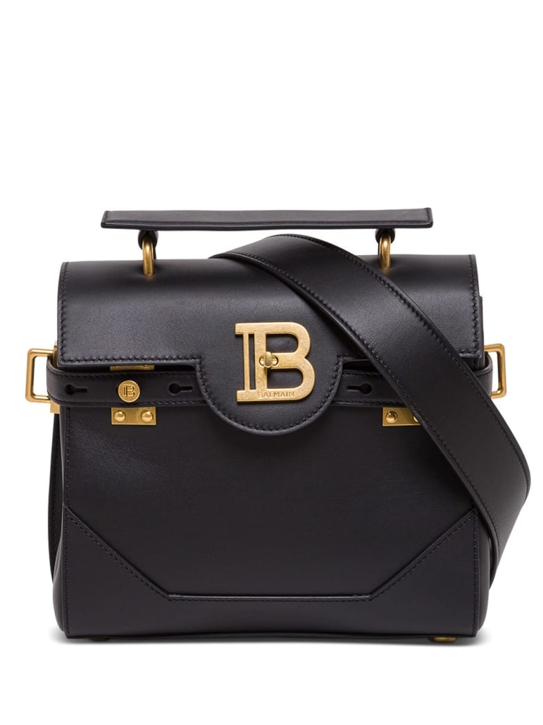 Balmain B-buzz Handbag In Black Leather With Logo Buckle - Black