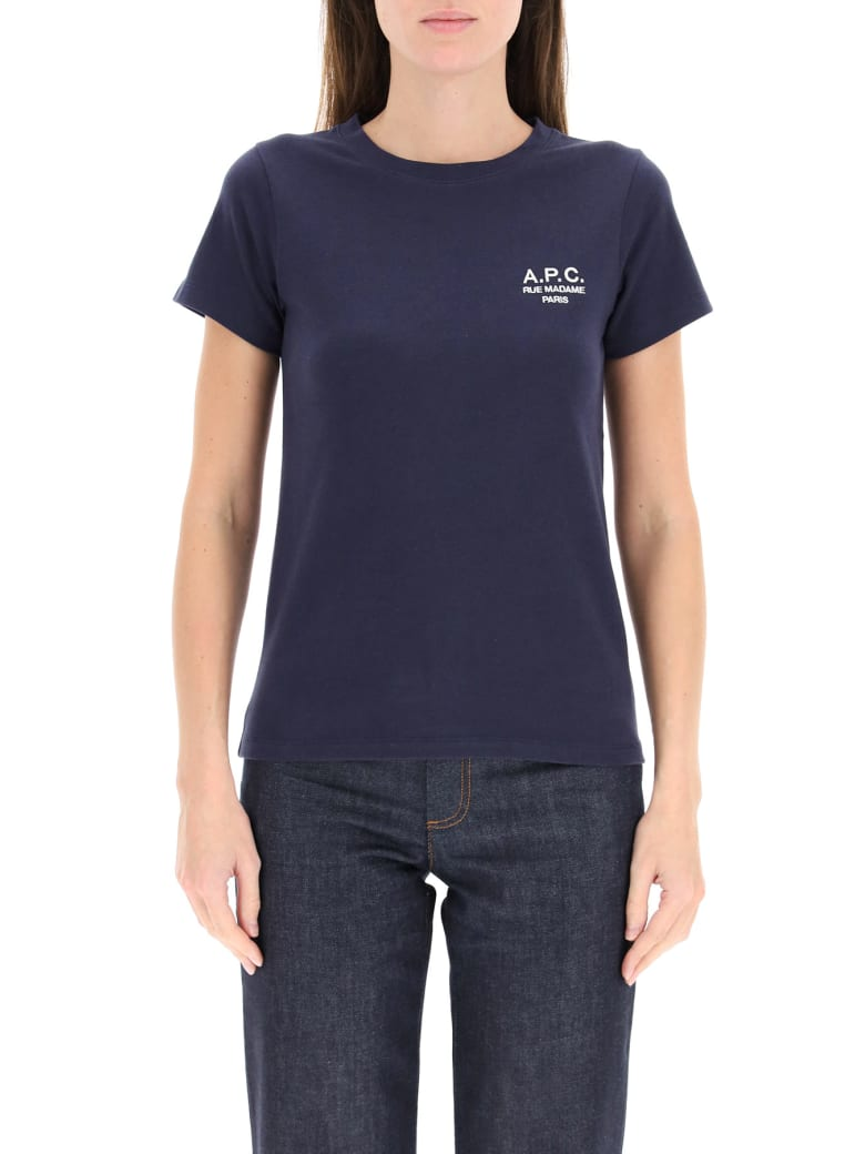 A.P.C. Denise T-shirt With Logo Embroidery - BLUE