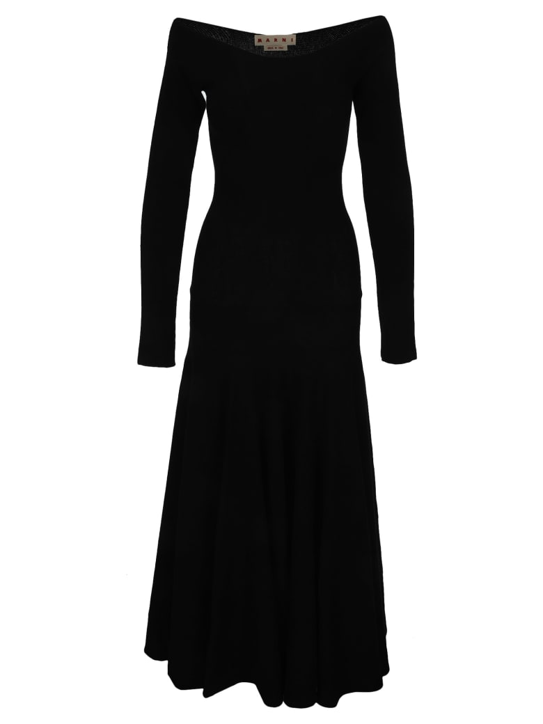 Marni Boat-neck Long Knitted Dress - BLACK