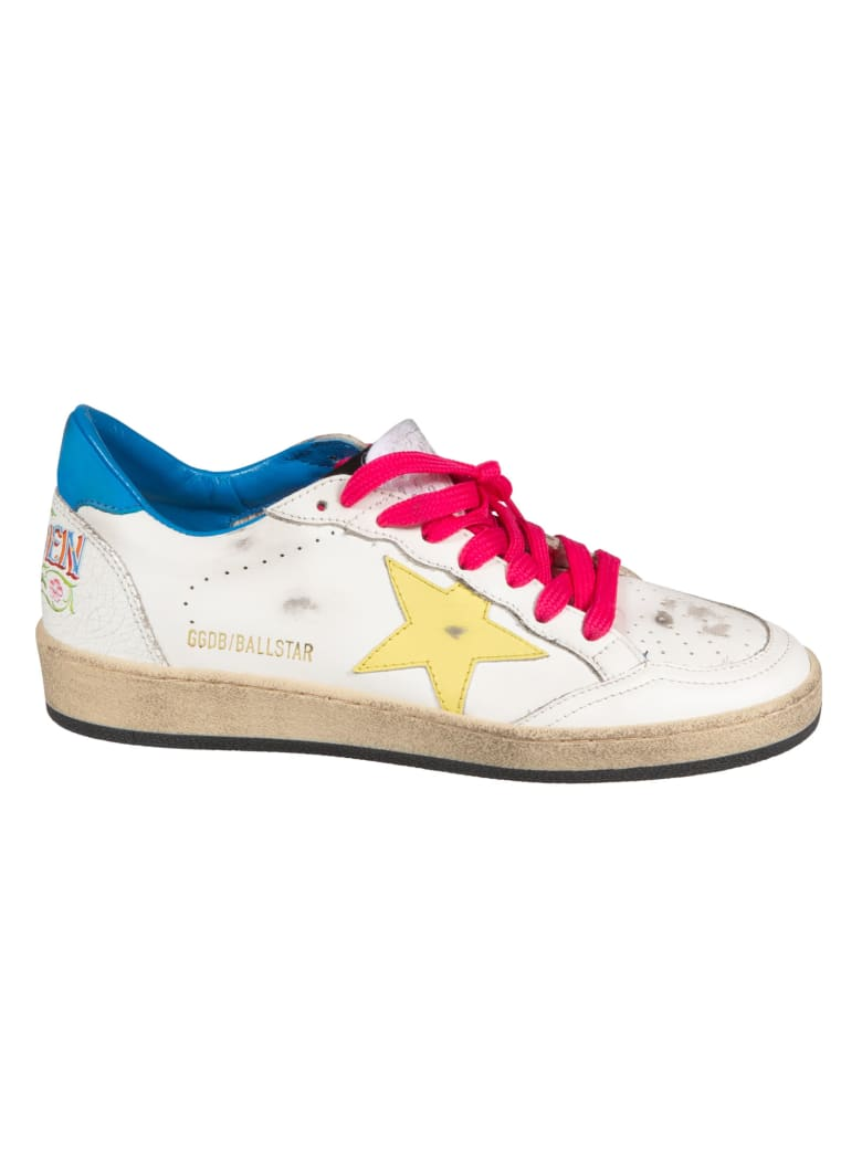 Golden Goose Ball Star Sneakers - White/Yellow/Light Blue