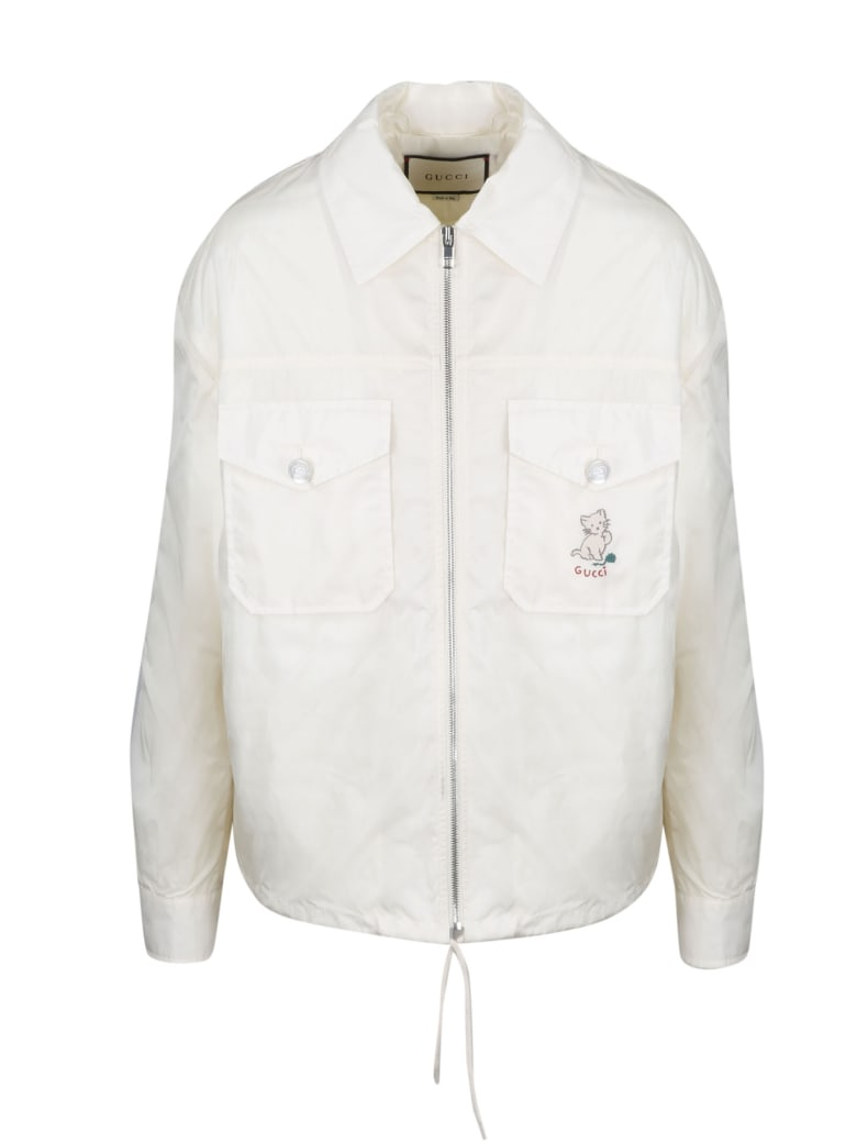 Gucci Cat Embroidered K-way Jacket - White