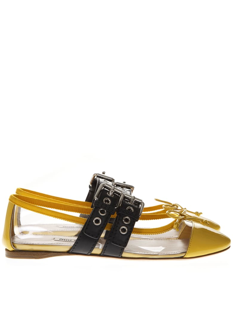 Miu Miu Yellow Pvc & Leather Pointy Buckled Slippers - Yellow/black