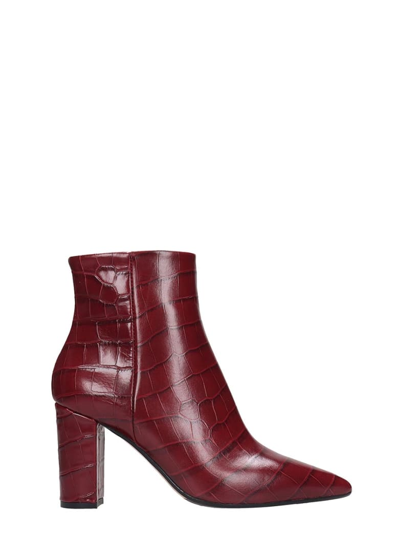 The Seller High Heels Ankle Boots In Bordeaux Leather - bordeaux
