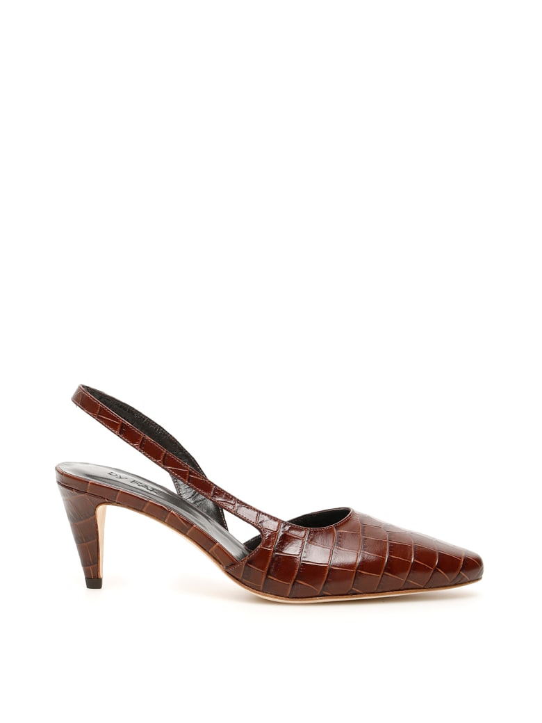 BY FAR Croc-print Lauren Slingbacks - NUTELLA (Brown)