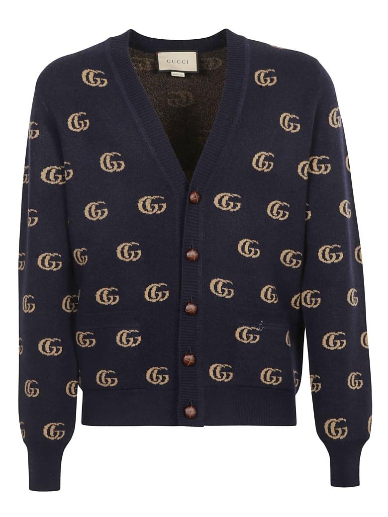 Gucci Gg Logo Ribbed Cardigan - Blue