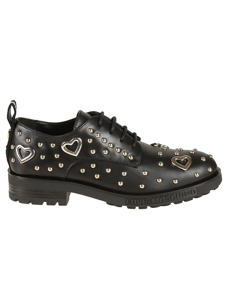 Love Moschino Studded Lace-up Shoes - Black