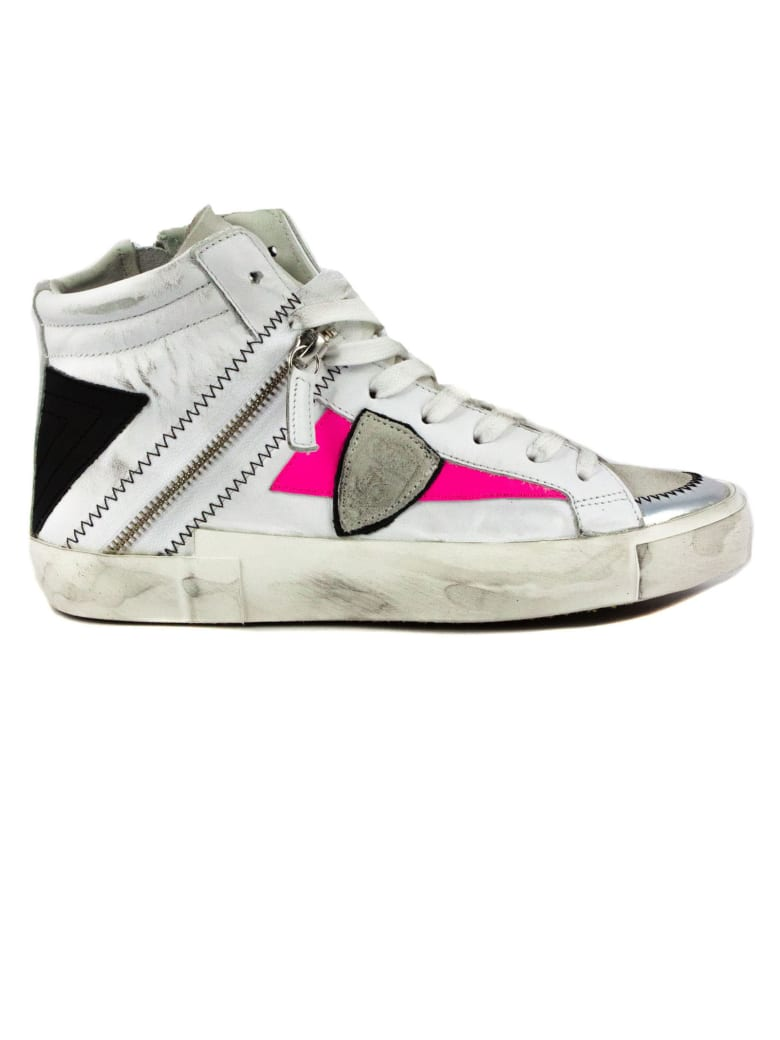 Philippe Model White Leather Bike X Sneakers - Bianco+fuxia