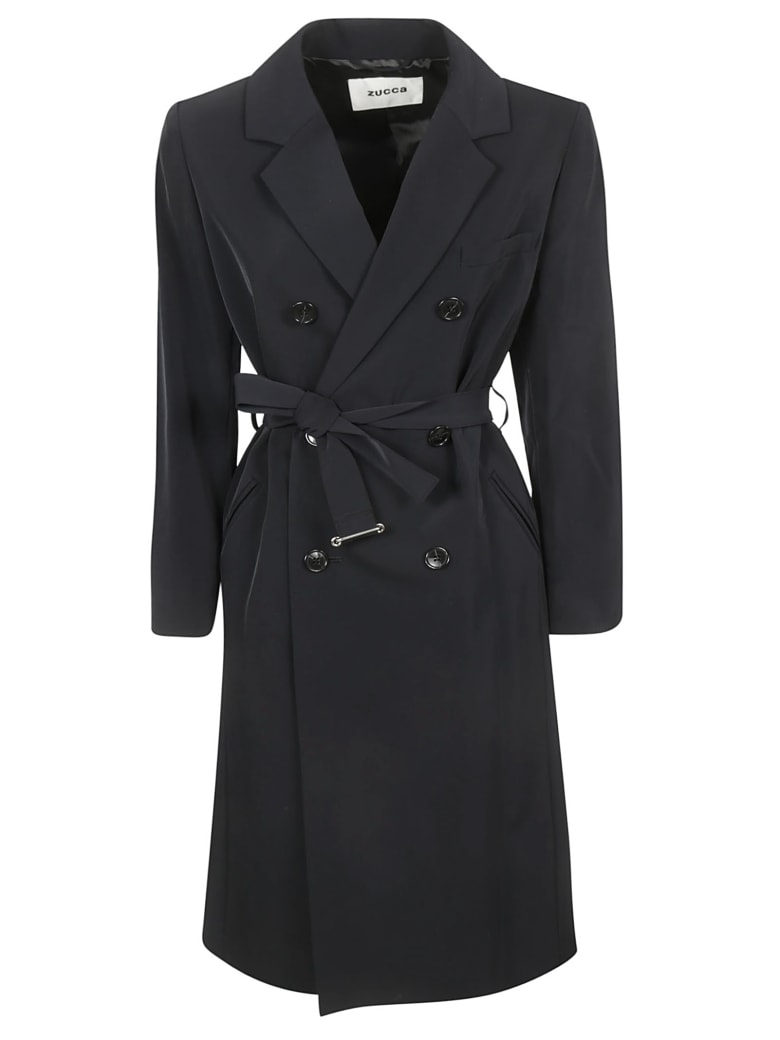 Zucca Double Breasted Button Trench - Black