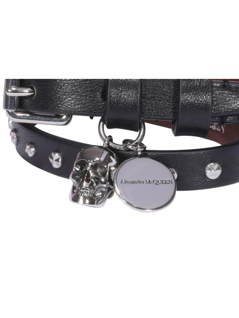 Alexander McQueen Double Wrap Skull Bracelet - Nero