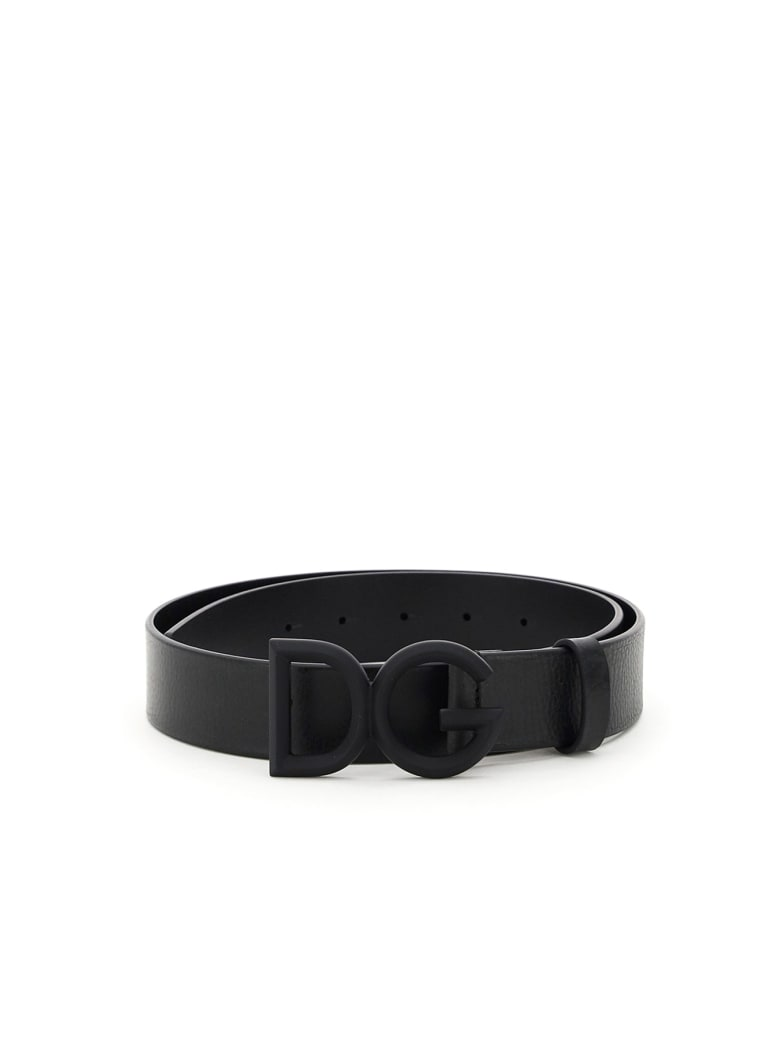 Dolce & Gabbana Leather Belt With Covered Buckle - NERO NERO GOMMATO (Black)