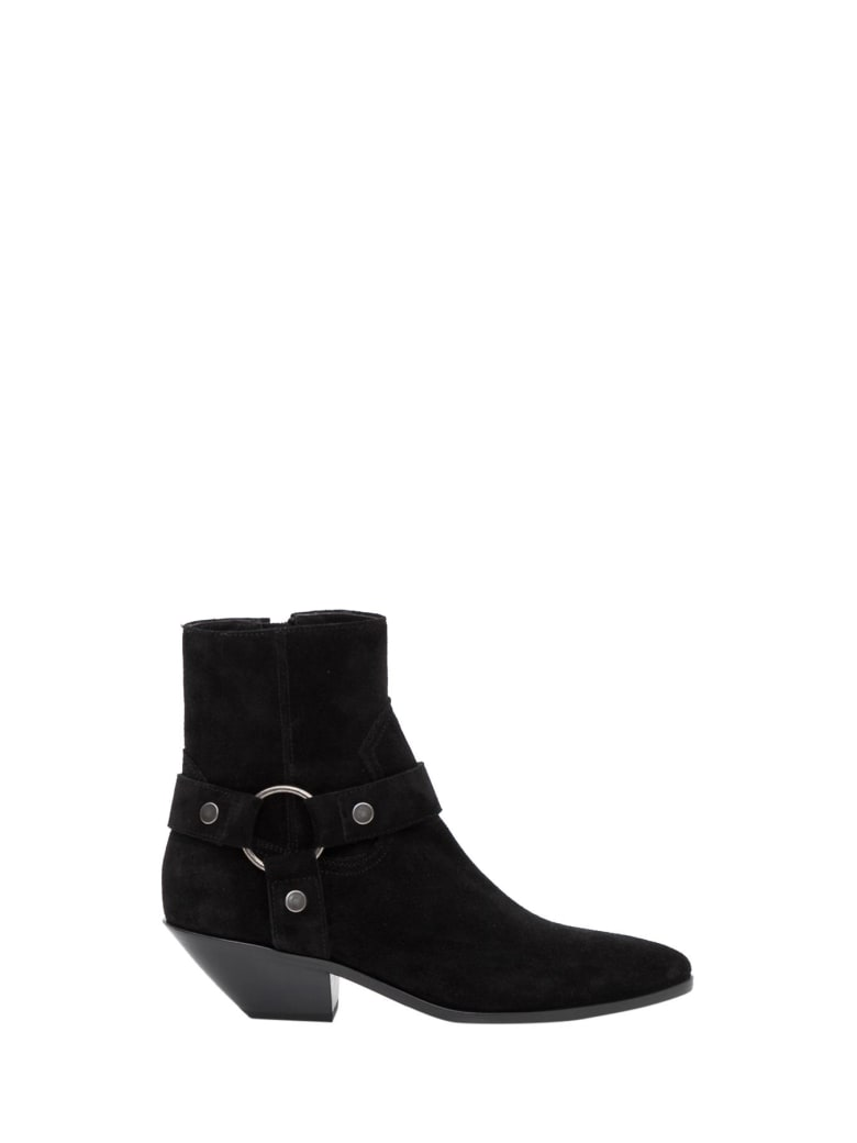 Saint Laurent West Harness Boots With Ring - Nero