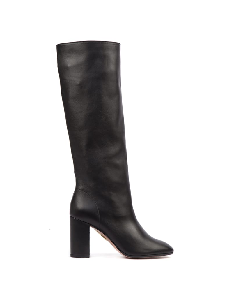 Aquazzura Black Nappa Leather Boogie Boots - Black