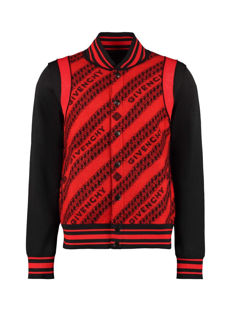 Givenchy Jacquard Bomber Jacket - red