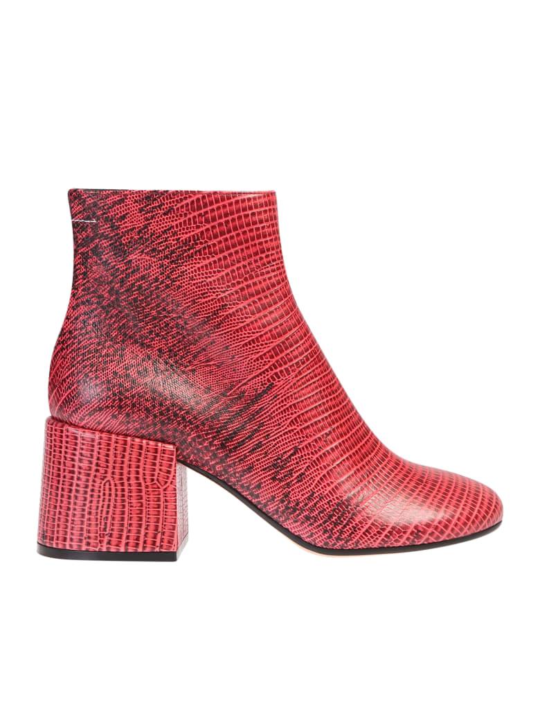 MM6 Maison Margiela Crocodile Print Ankle Boots - Pink