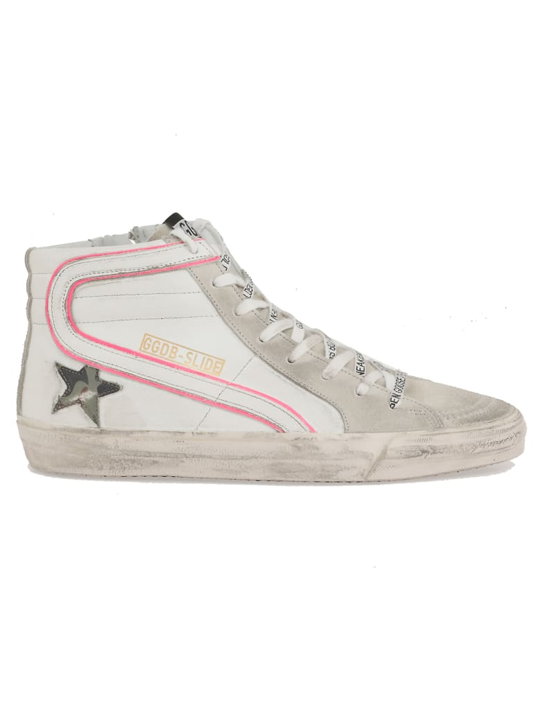 Golden Goose Slide Sneaker - WHITE-ICE SUEDE-CAMOU STAR