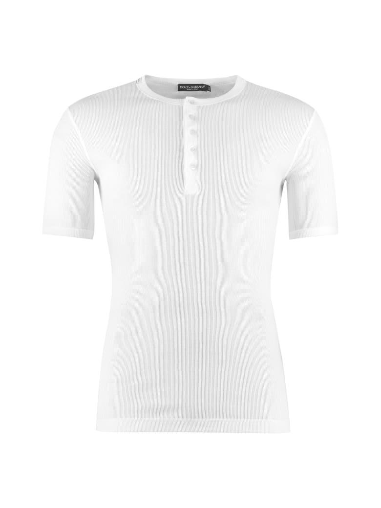 Dolce & Gabbana Ribbed Cotton Crew-neck T-shirt - White