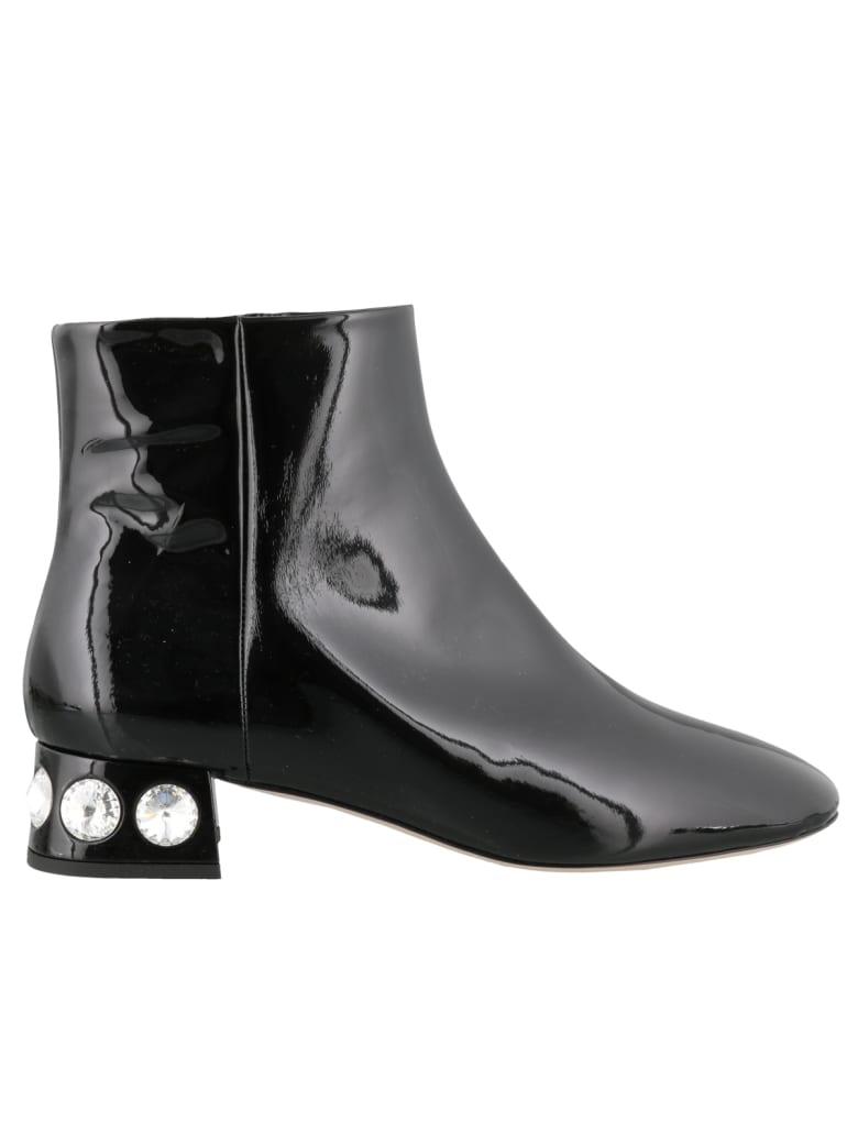 Miu Miu Paint Ankle Boots - Black