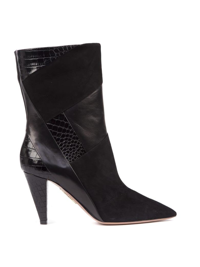 Aquazzura Paneled Black Leather Boots - Black