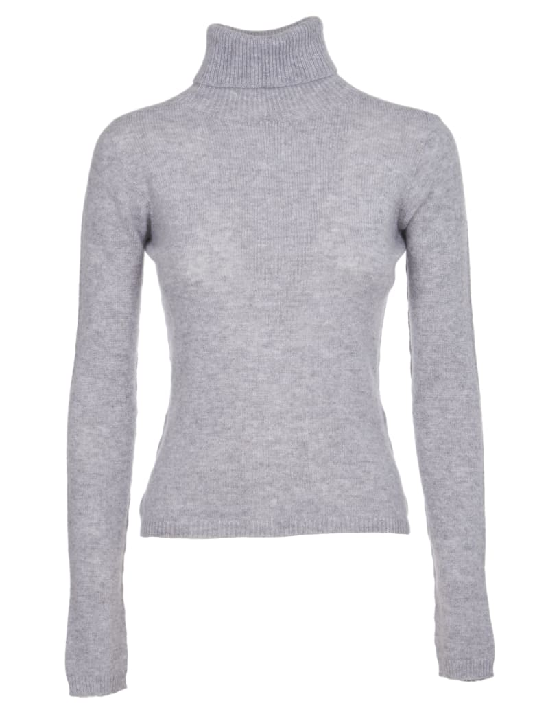 Pink Memories Grey Cashmere Turtleneck - Grey