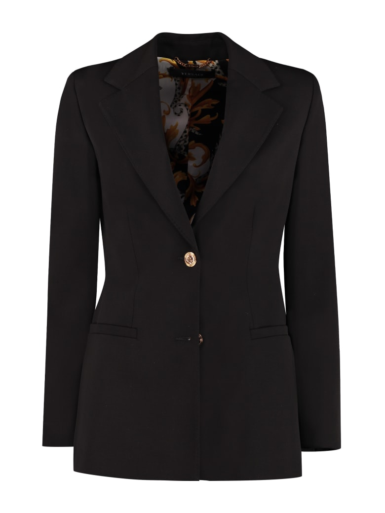 Versace Granite Stretch Wool Blazer - black