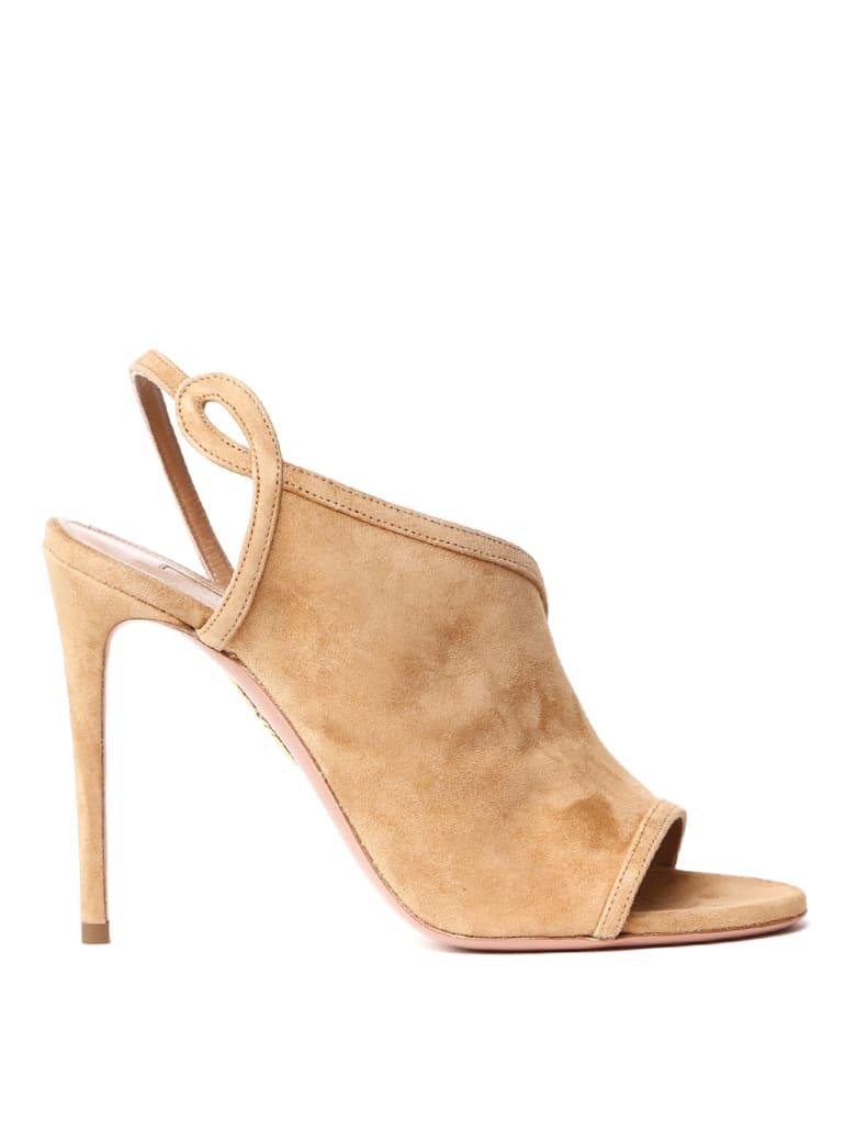 Aquazzura Camel Suede Asymmetric Sandals - Camel