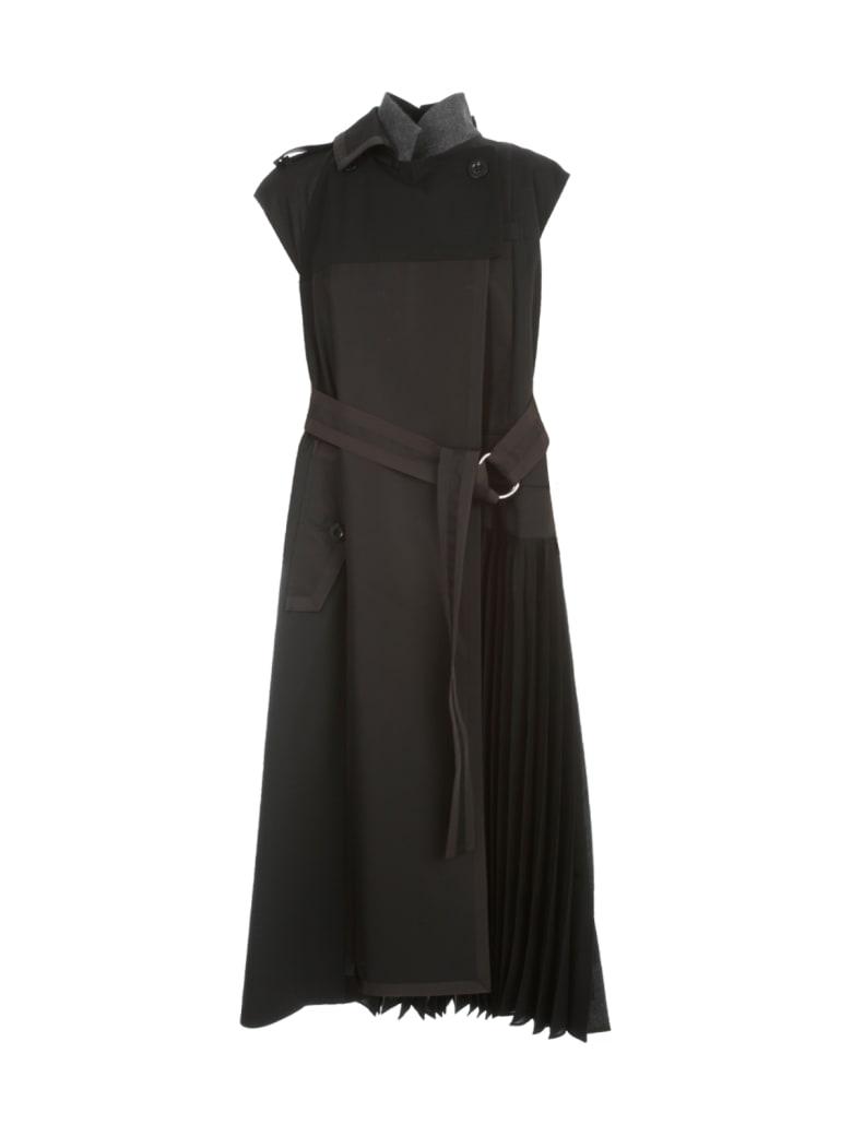 Sacai Suiting Sleeveless Dress W/belt - Black