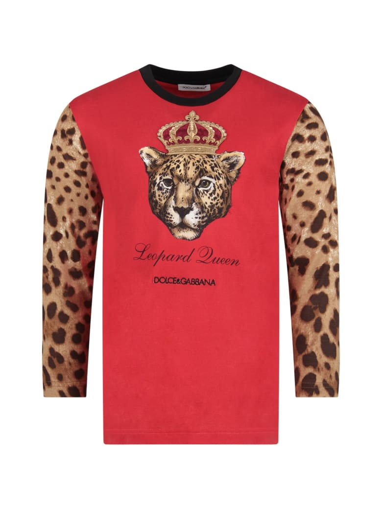 Dolce & Gabbana Red Girl T-shirt With Iconic Leopard - Red