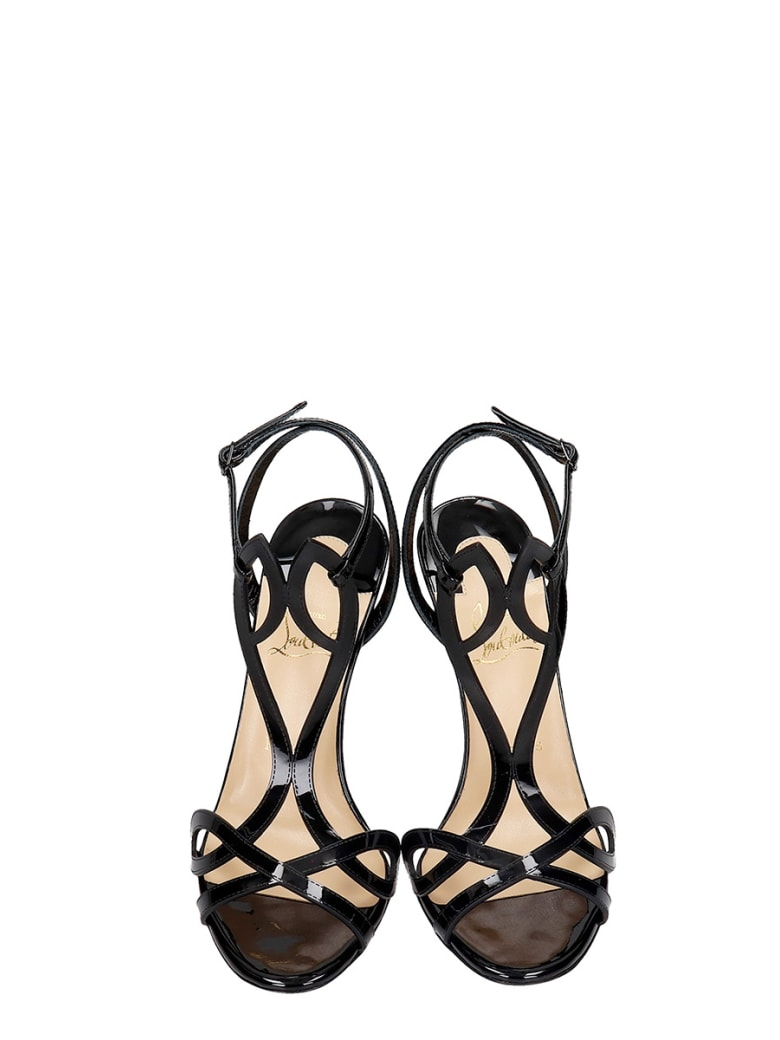 Christian Louboutin Double L Sandals In Black Patent Leather - black