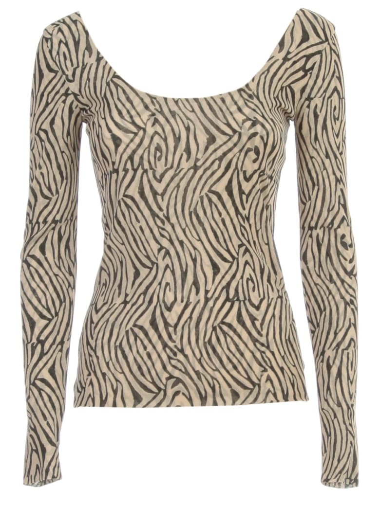 Nanushka Aurelia T-shirt L/s Wide Neck W/print - Zebra Block Print