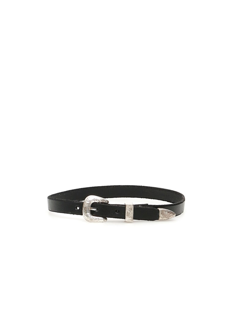 R13 Leather Choker Necklace - BLACK (Black)