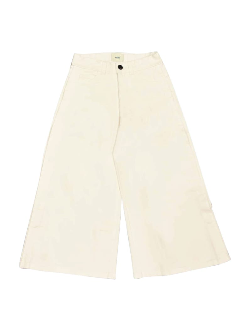Fendi White Denim Trousers - Gesso