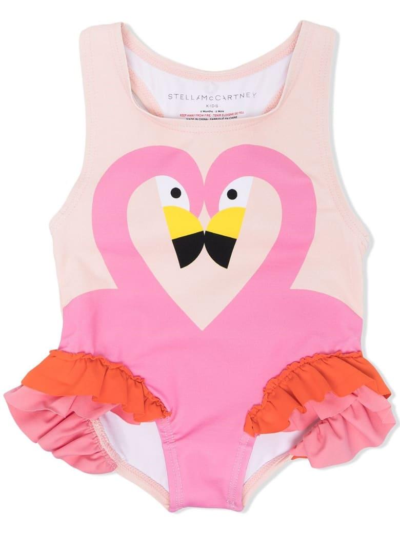 Stella McCartney Kids Flamingo & Frills Swimsuit - Powder