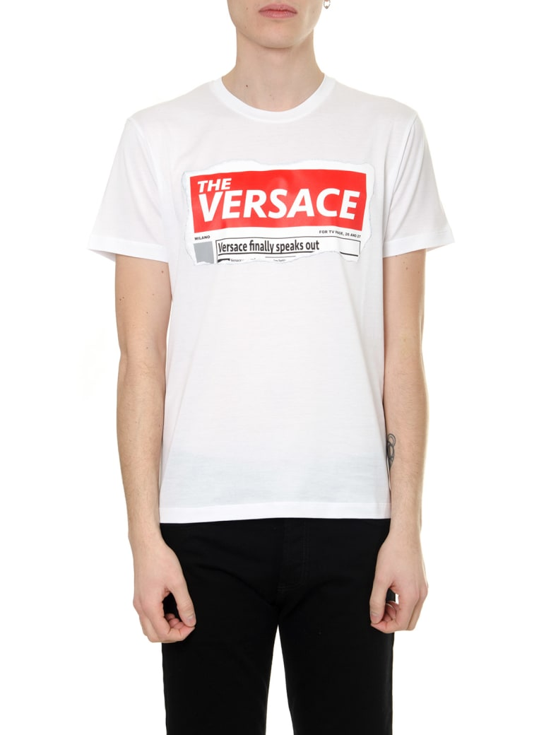 Versace White Headline T-shirt In Cotton - White/red