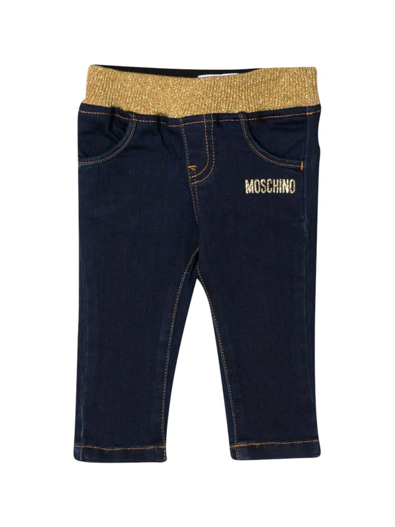 Moschino Blue Jeans With Frontal Logo - Navy