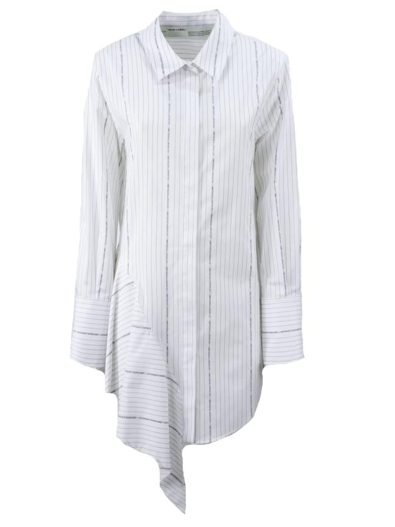 Off-White White Asymmetrical Dress - Bianco+nero