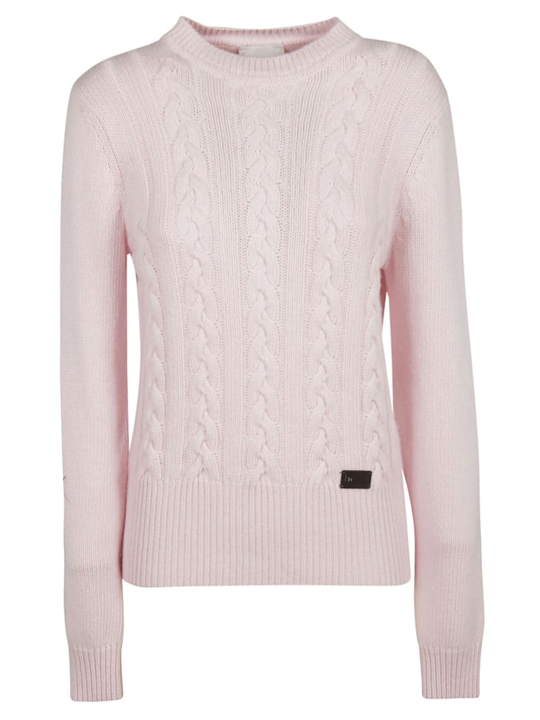 Be Blumarine Braid Knit Pattern Sweater - powder