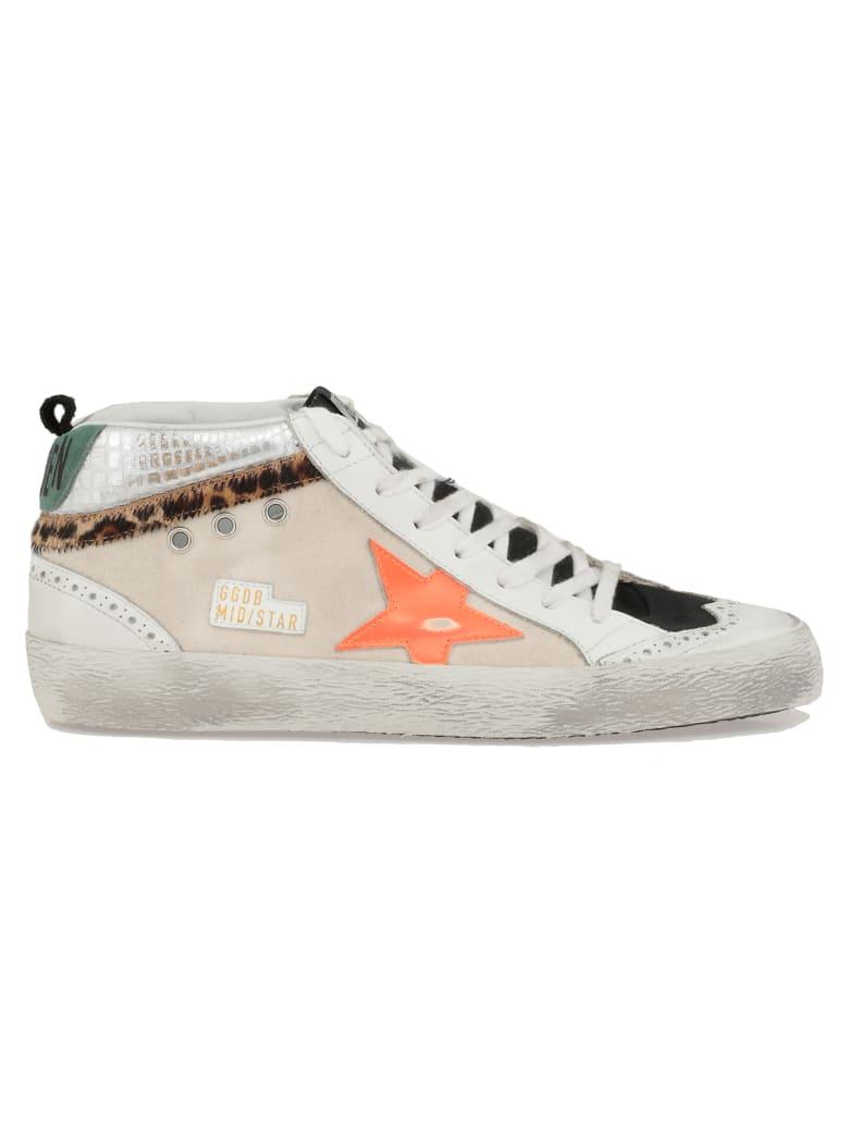 Golden Goose Mid Star Sneaker - WHITE-BLACK-ORANGE FLUO STAR