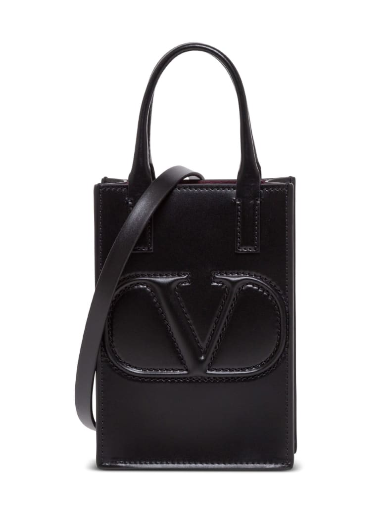 Valentino Garavani Vlogo Leather Crossbody Bag - Black