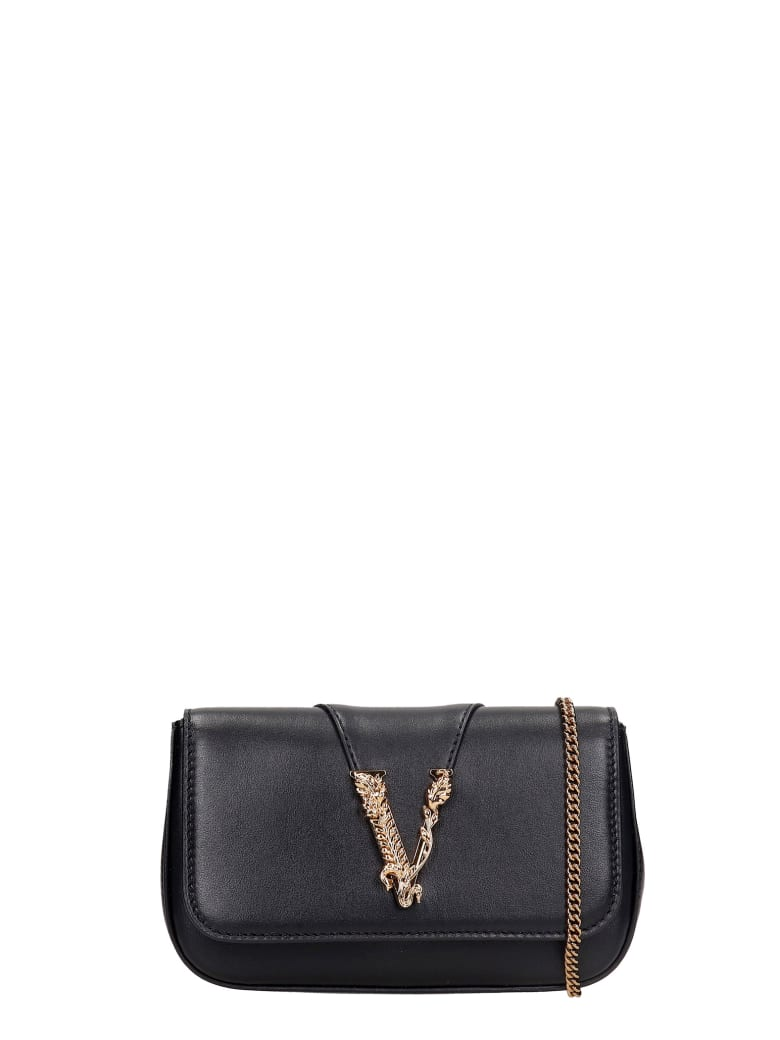 Versace Clutch In Black Leather - black